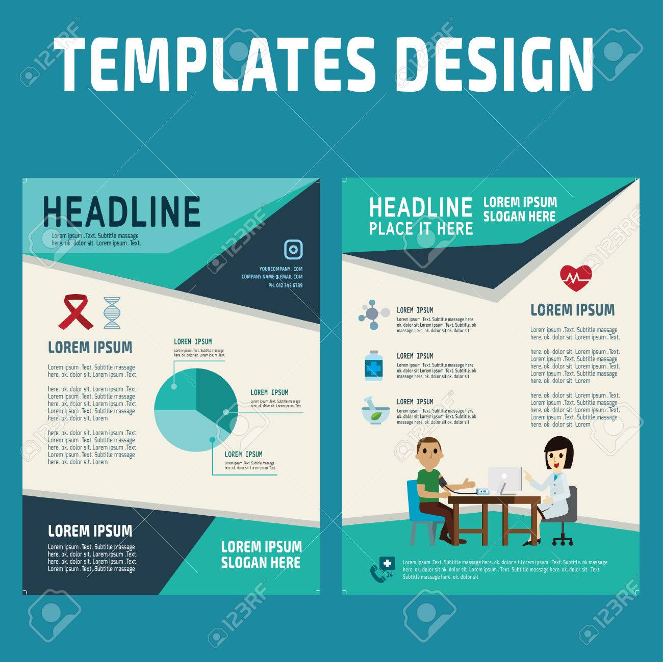 flyer design vector template in a4 size brochure booklet cover