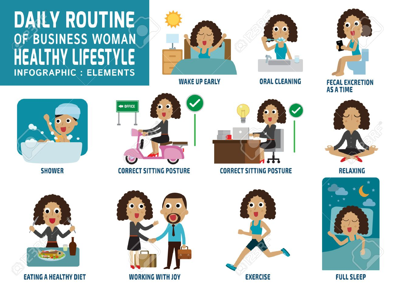 Daily Routine Of Happy Business People. Infographic Element.health ...