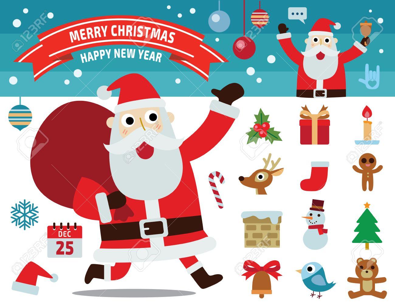 Imagenes De Papanoel En Movimiento.Santa Claus Movimiento Coleccion De Concepto De La Feliz Navidad Iconos Planos Del Diseno De Ilustracion