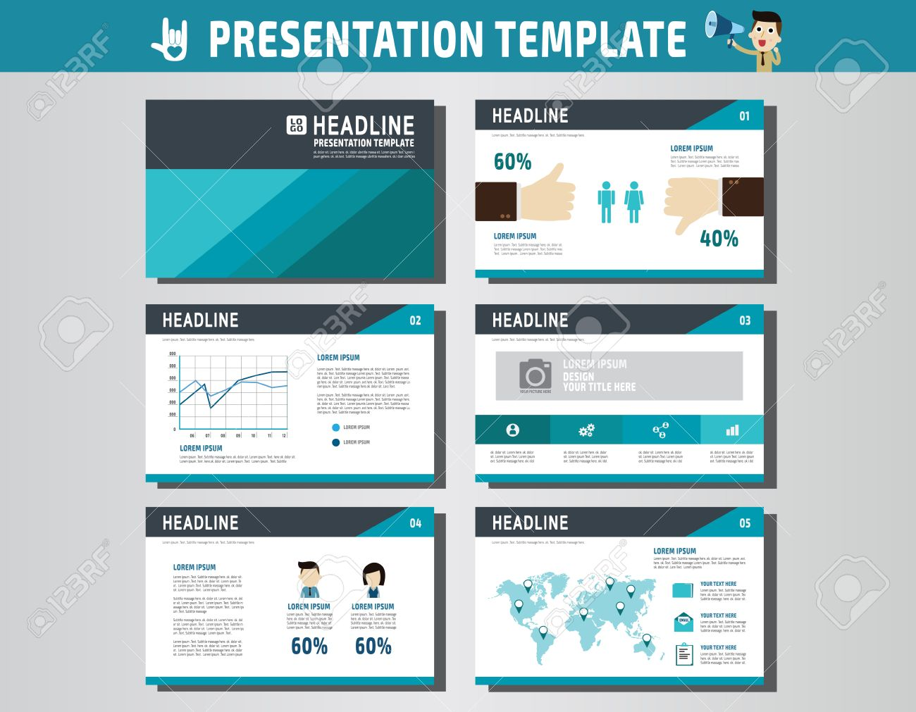 collection of multipurpose presentation template icons vector collection of multipurpose presentation template icons infographic element company advert marketing concept abstract blue flyer layout brochure