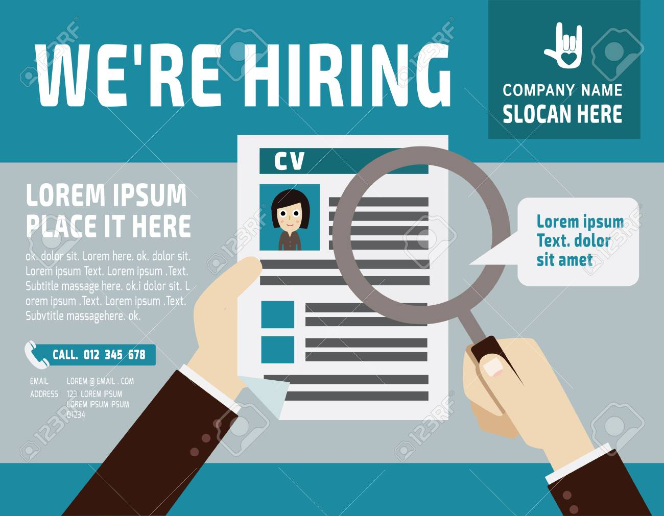 Hiring.Use A Magnifying Glass To See The Resume.banner Poster ...