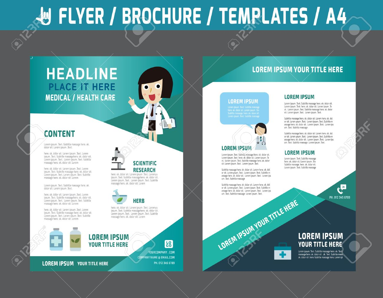 Flyer multipurpose design vector template in A4 size.Templates or Banners for Medical and Health Care concept.abstract brochure modern style.wellness marketing illustration. - 48858597