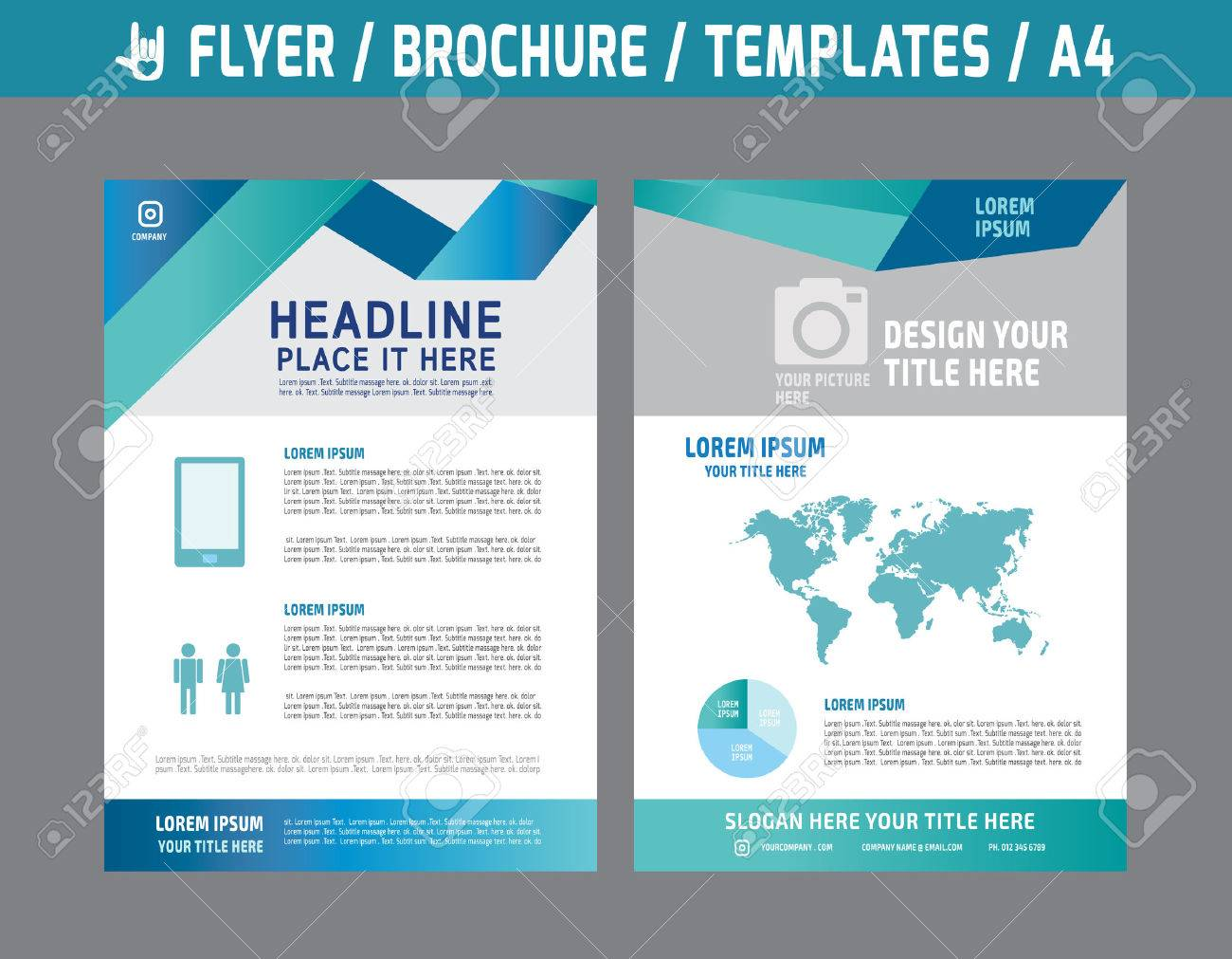 flyer multipurpose design vector template in a4 size abstract
