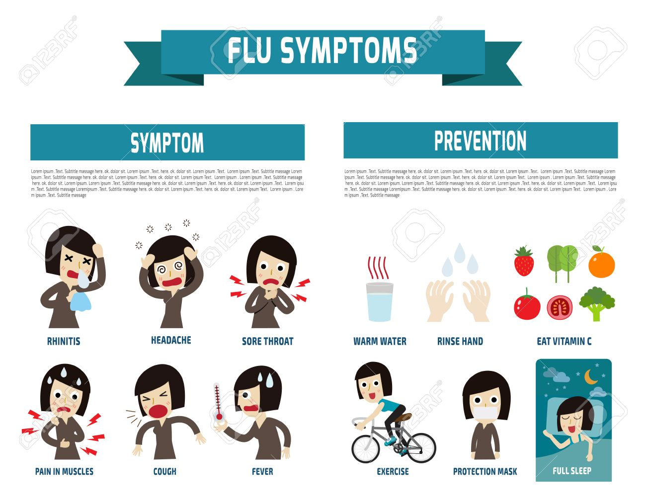 flu symptoms and Influenza.health concept. infographic element. flat icons cartoon design.illustration. isolated on white background. - 50384399