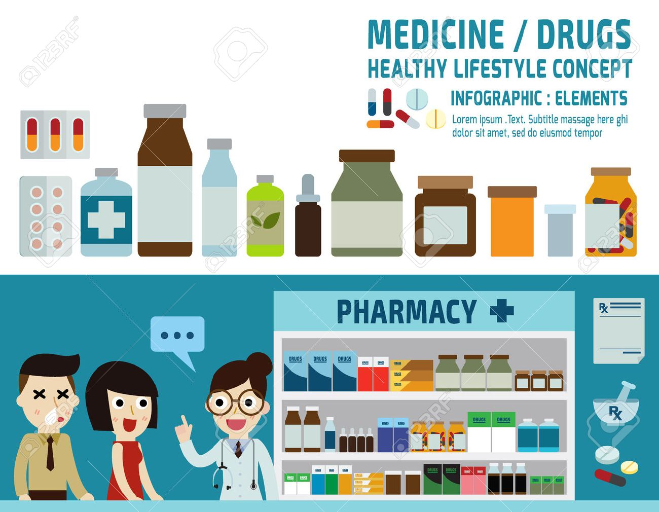 drugs icons: pills capsules and prescription bottles.pharmacy drugstore.infographic elements.wellness concept.banner header blue for website and magazine.illustration isolated on white background. - 52523086