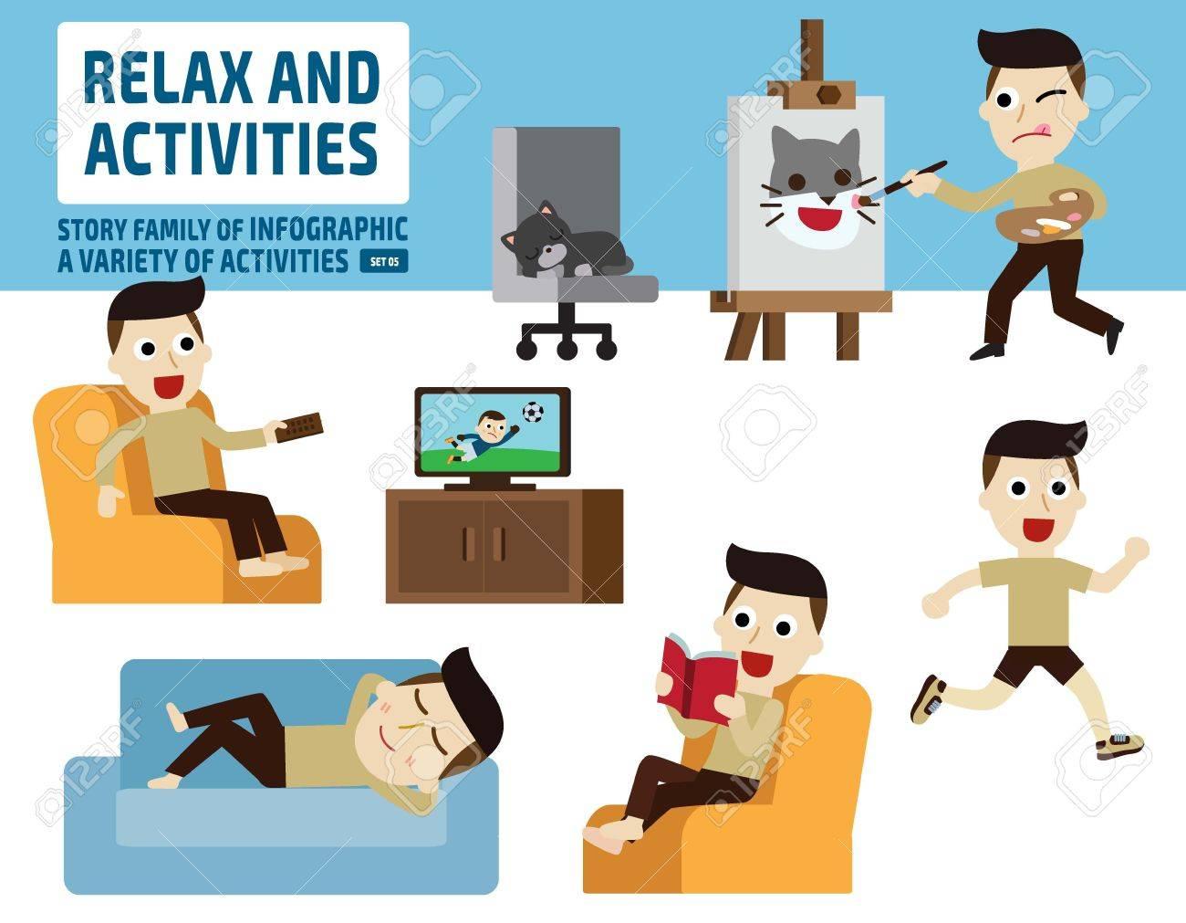 レジャー activities infographic elements flat かわいい漫画の設計図