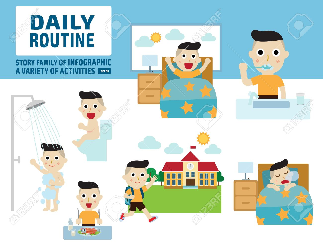 daily routine of childhood.infographic element.health care concept.flat cute cartoon design illustration. - 53115929