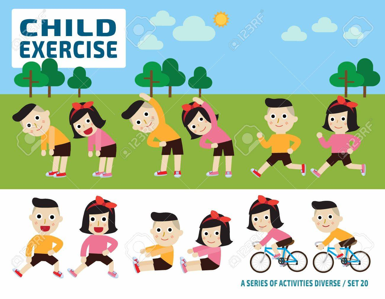 Children Stretching Flexibility Exercise Concept Infographic Royalty Free Cliparts Vectors And Stock Illustration Image 53903258