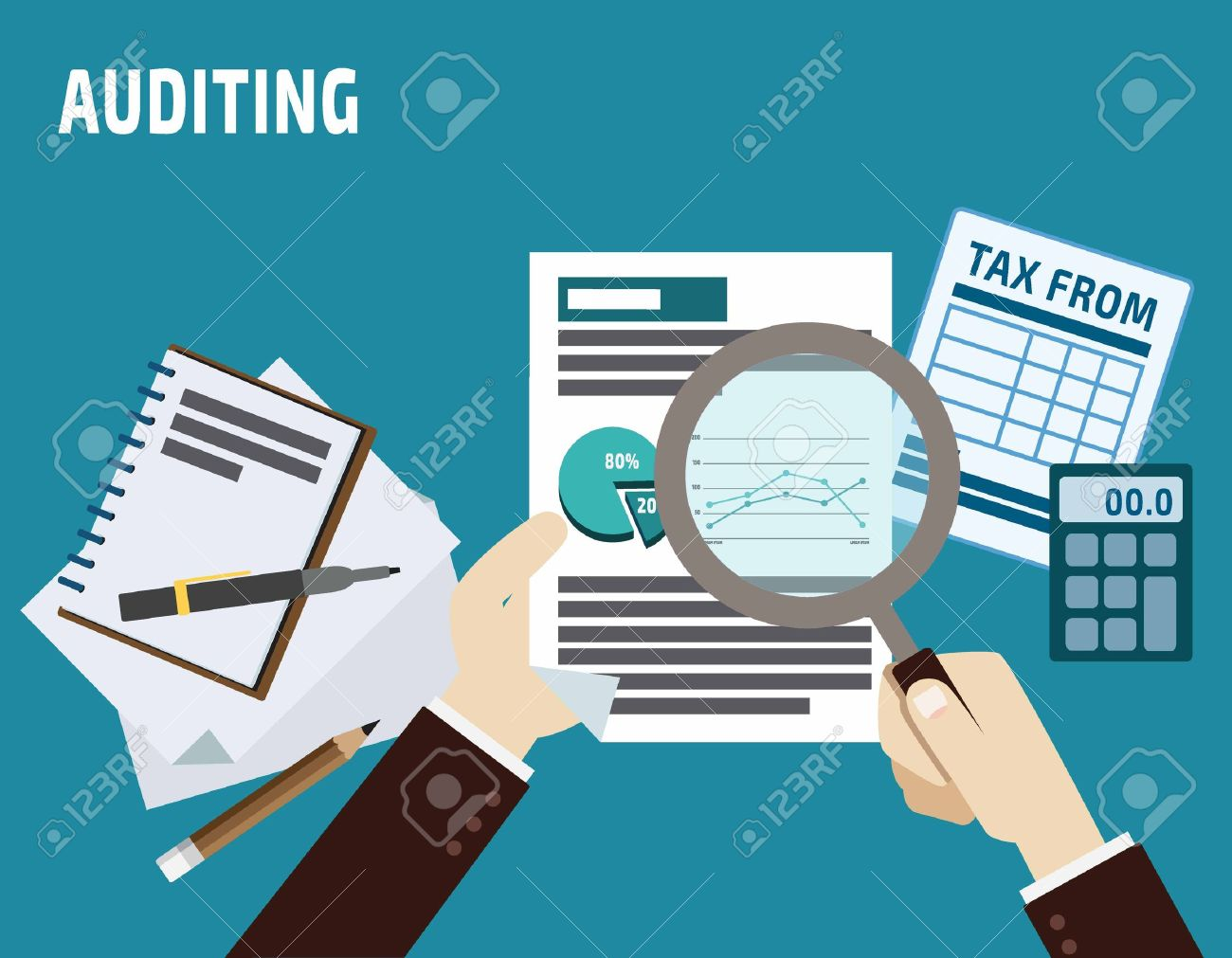 auditing. business concept.flat cute cartoon design illustration.isolated on blue background. - 54347851