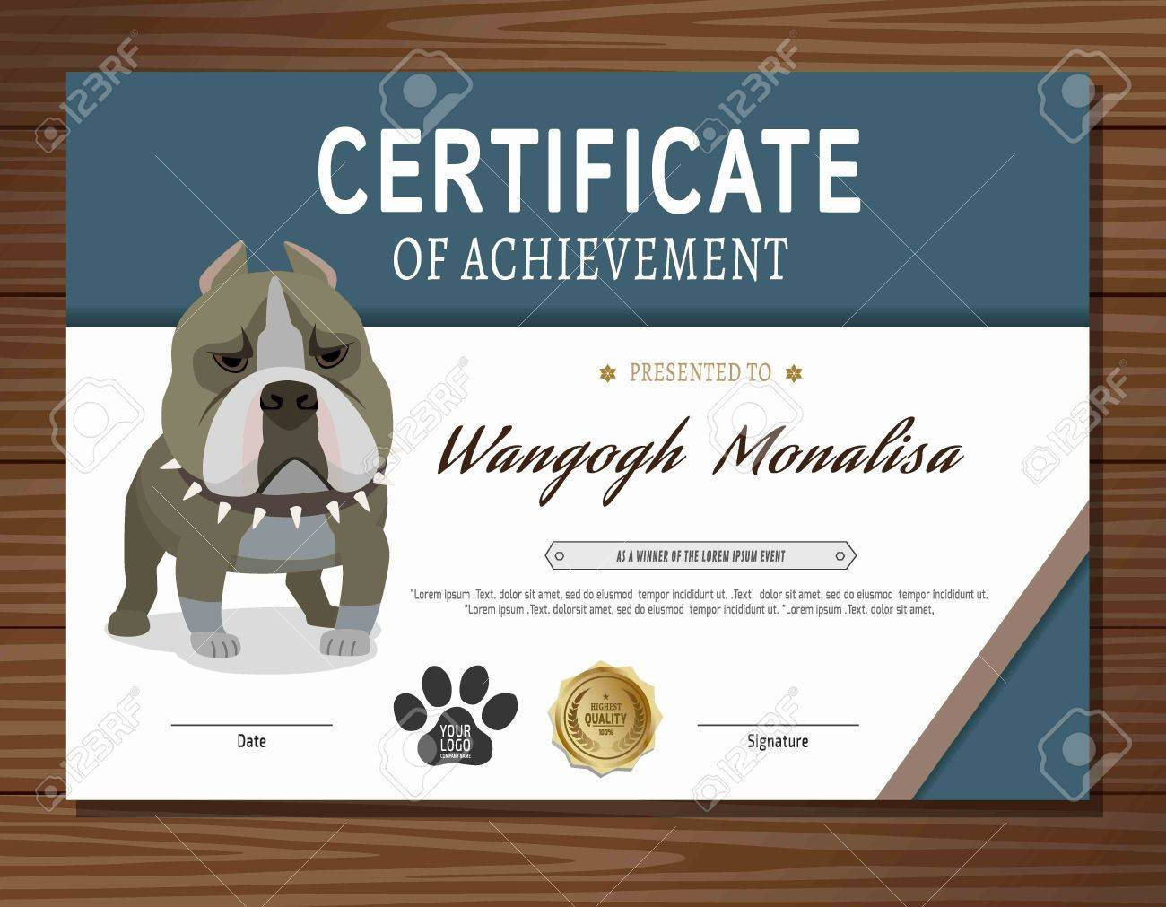 Dog Certificate Template. Flat Vector Royalty Free Cliparts, Vectors ...