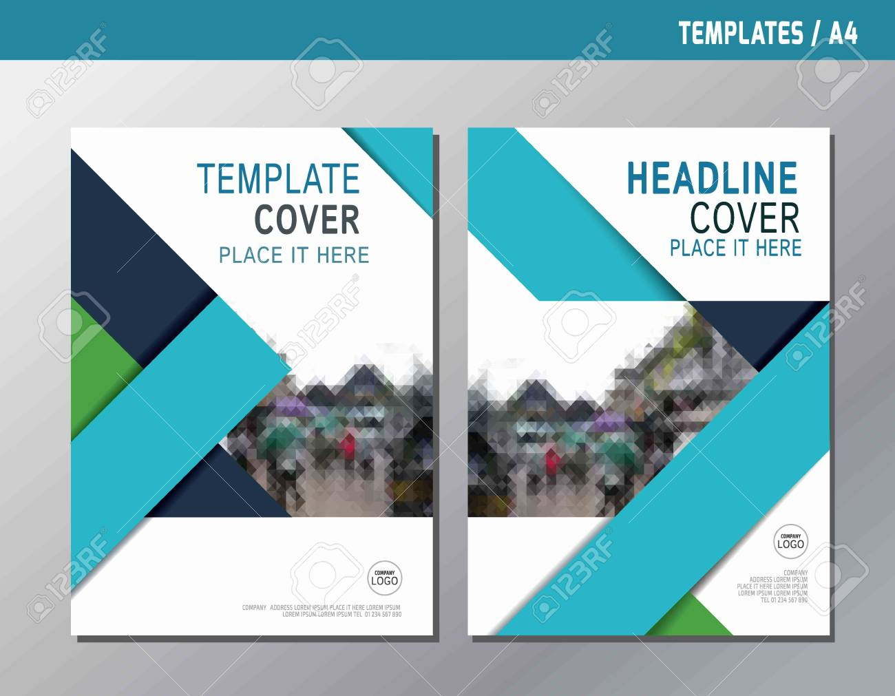 blue abstract flat vector annual report leaflet brochure template A4 size designflyer modern multipurpose stylebook cover layout design - 56917554