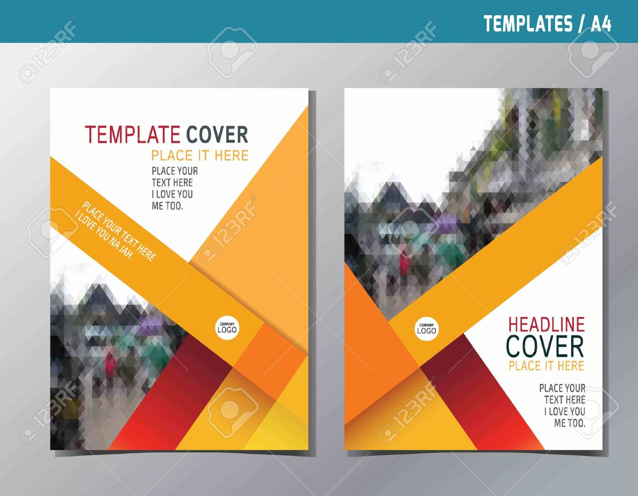 red yellow abstract flat vector annual reportleaflet brochure template A4 size designflyer modern multipurpose stylebook cover layout design - 56917525