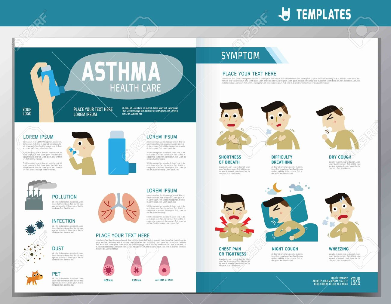 Asthma Infographic Flyer Template A Size Design Flat Cute - Wellness flyer templates free