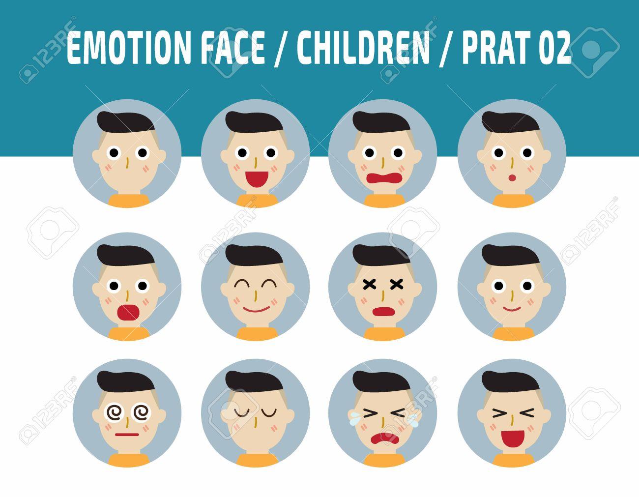 kids emotions avatar face feelings flat cute cartoon children