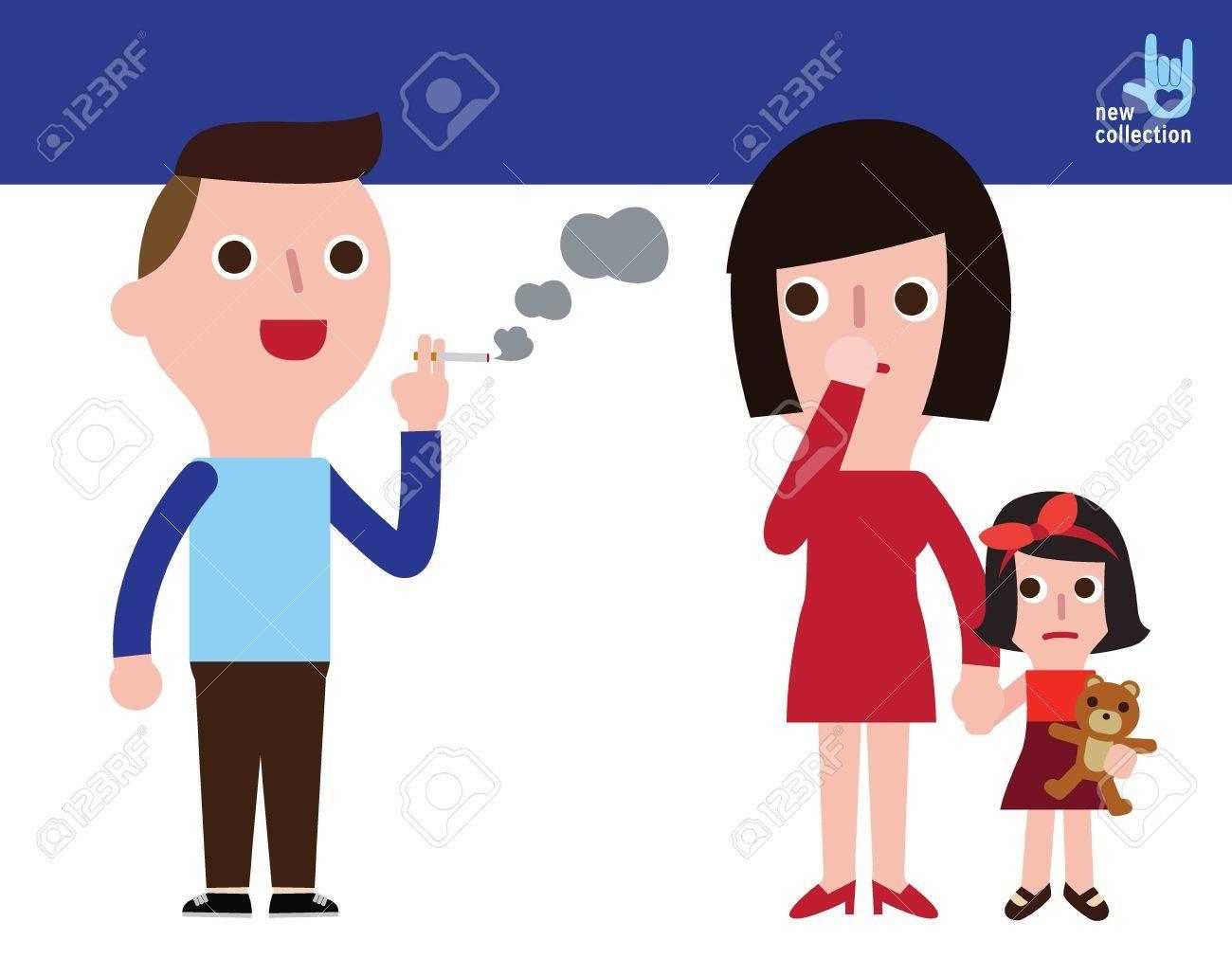 Man Smoking Women And Girls Smelly Cigarette Vector Cartoon