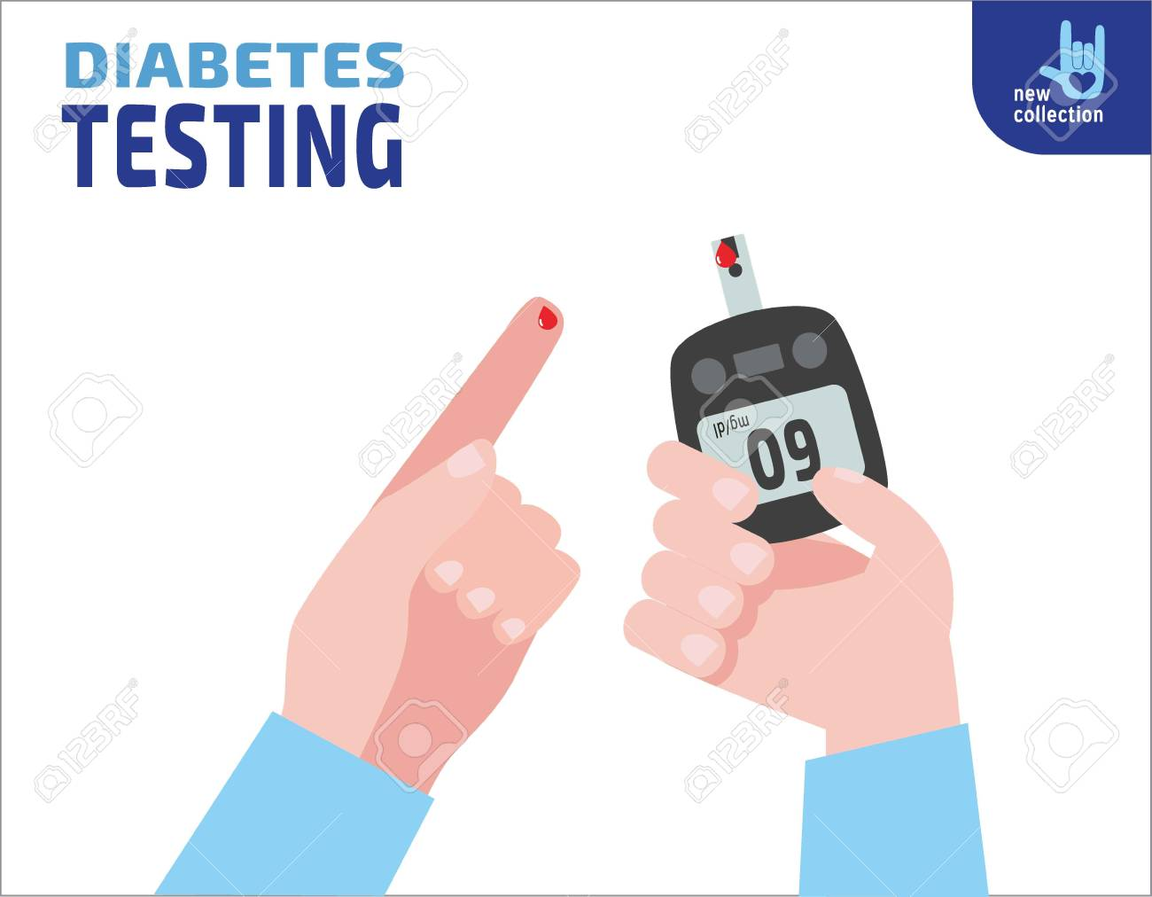 Diabetes testing. person holds in hand the meter measures the blood sugar level.Blood drop test strip.Vector flat cartoon design.Medical health illustration concept. - 72418676