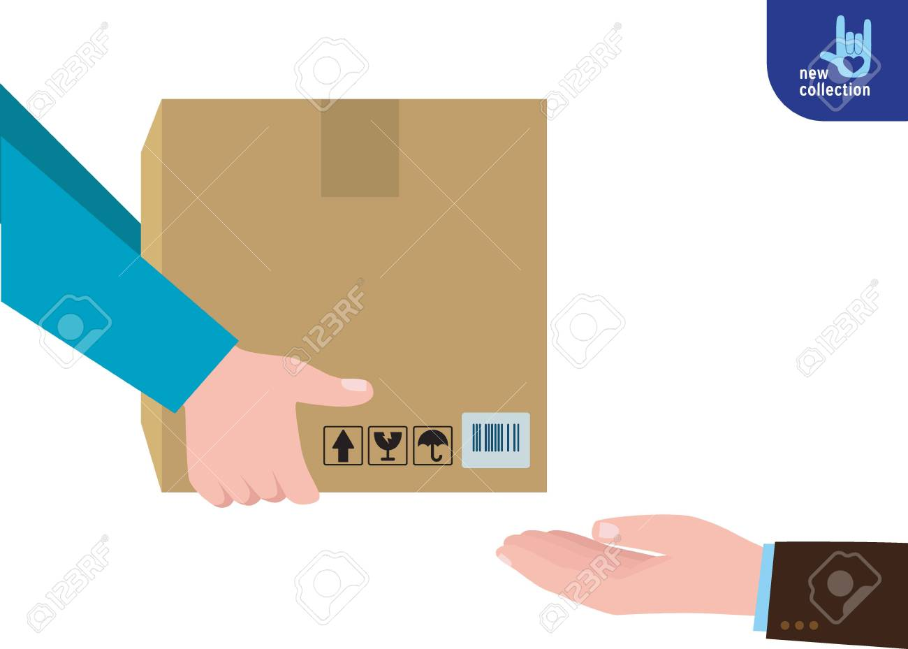 Closeup. busines man hand accepting a delivery of boxes from deliverymanCourier Hands with postal cardboard box.service concept.Vector flat cartoon design illustration.Isolated on white background. - 73251550