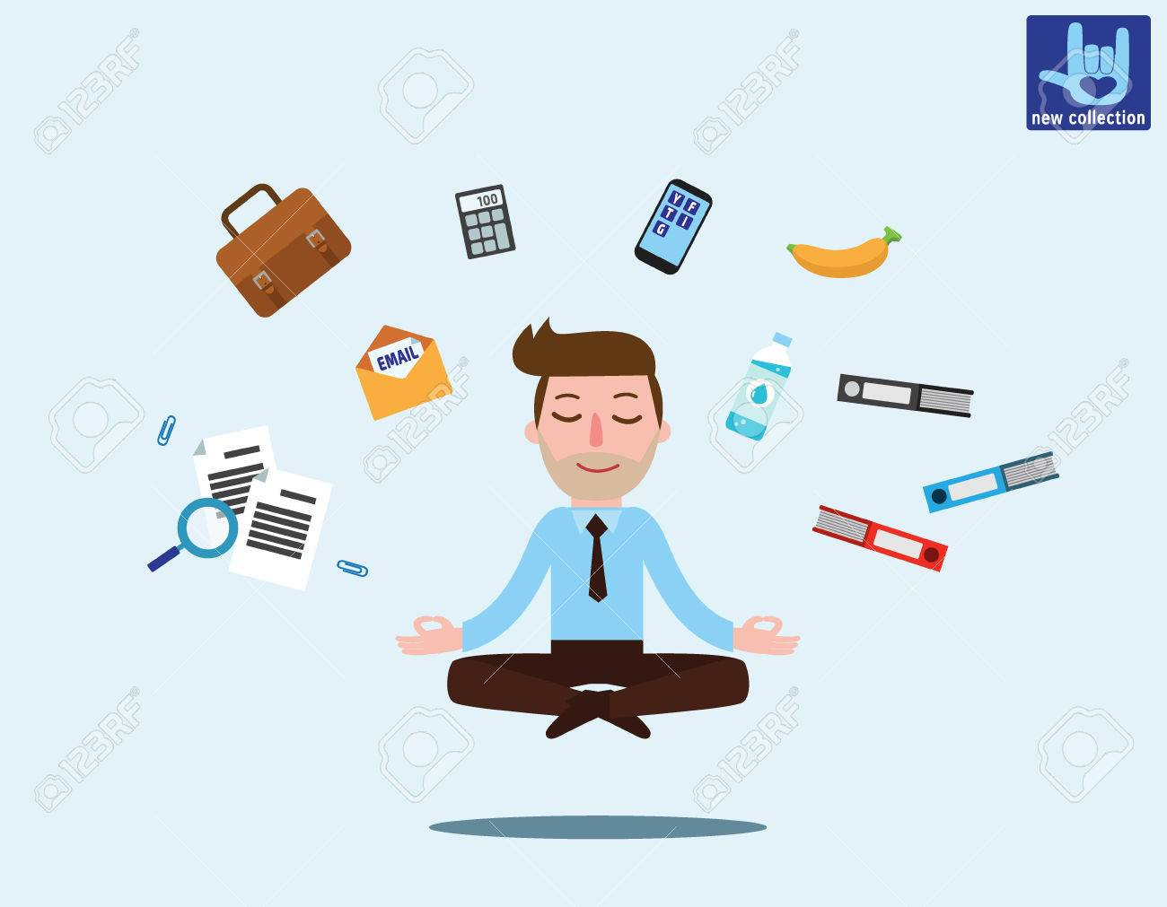 Businessman sitting in padmasana lotus pose with flying around documents, phone, flying around himOffice worker multitasking & meditating, relaxing doing yoga.Vector flat Business illustration - 78775232