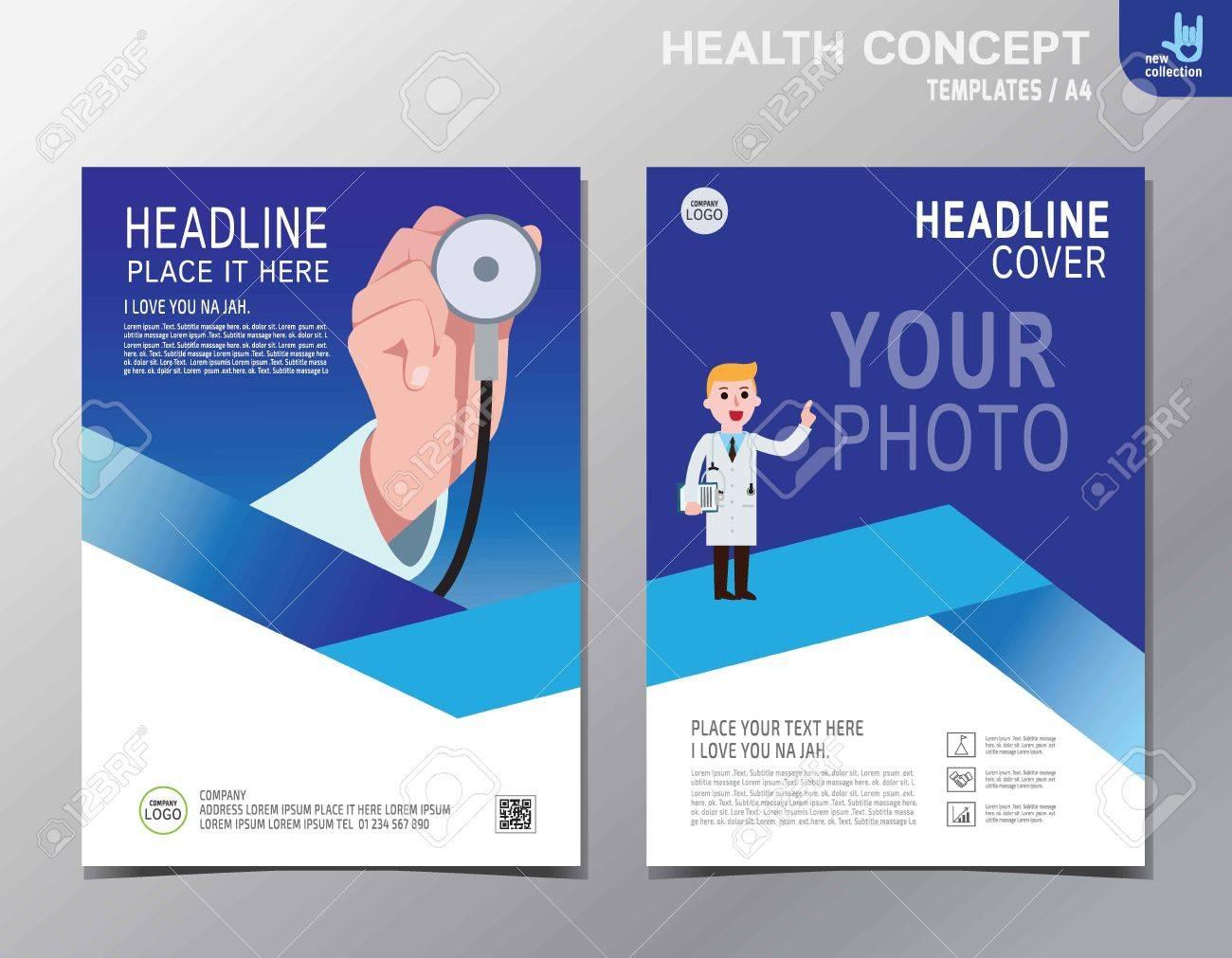 Banner Flyer Brochure Template LayoutClose Up Cardiologist - Medical brochure templates