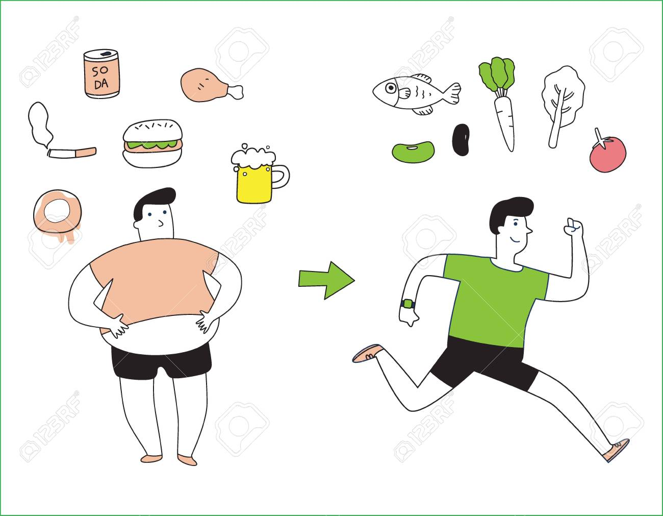 health concept bad habits fatty healthy food fast food exercise