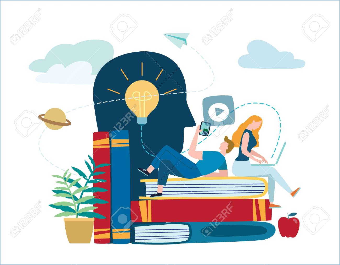 small people learn and gain knowledge. vector illustration. - 99993469