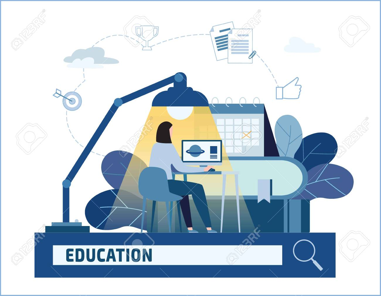 Distance Learning Vector Illustration.online Courses Home Schooling  Banner.education Books And Textbooks E