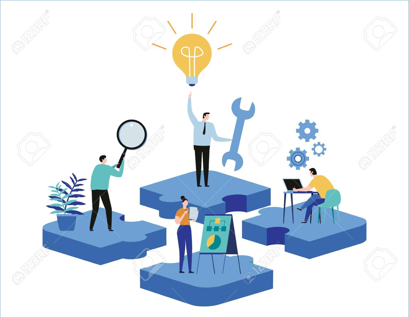 Finding new ideas. problem solving. Vector illustration banner.Teamwork search for solutionsMiniature people team workingflat cartoon design for web mobile - 101656860
