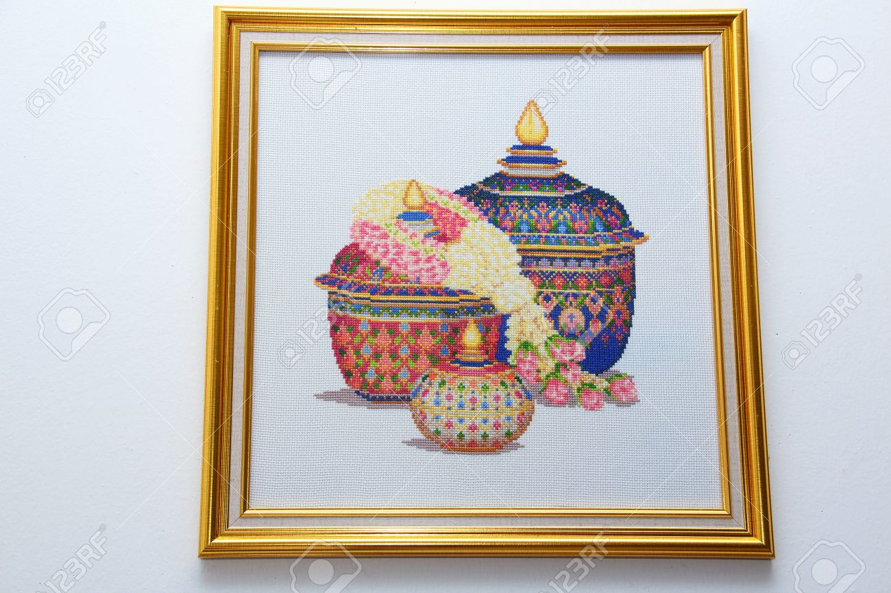 Picture Frame Cross Stitch Thailand Art Hanging On The Wall Stock ...
