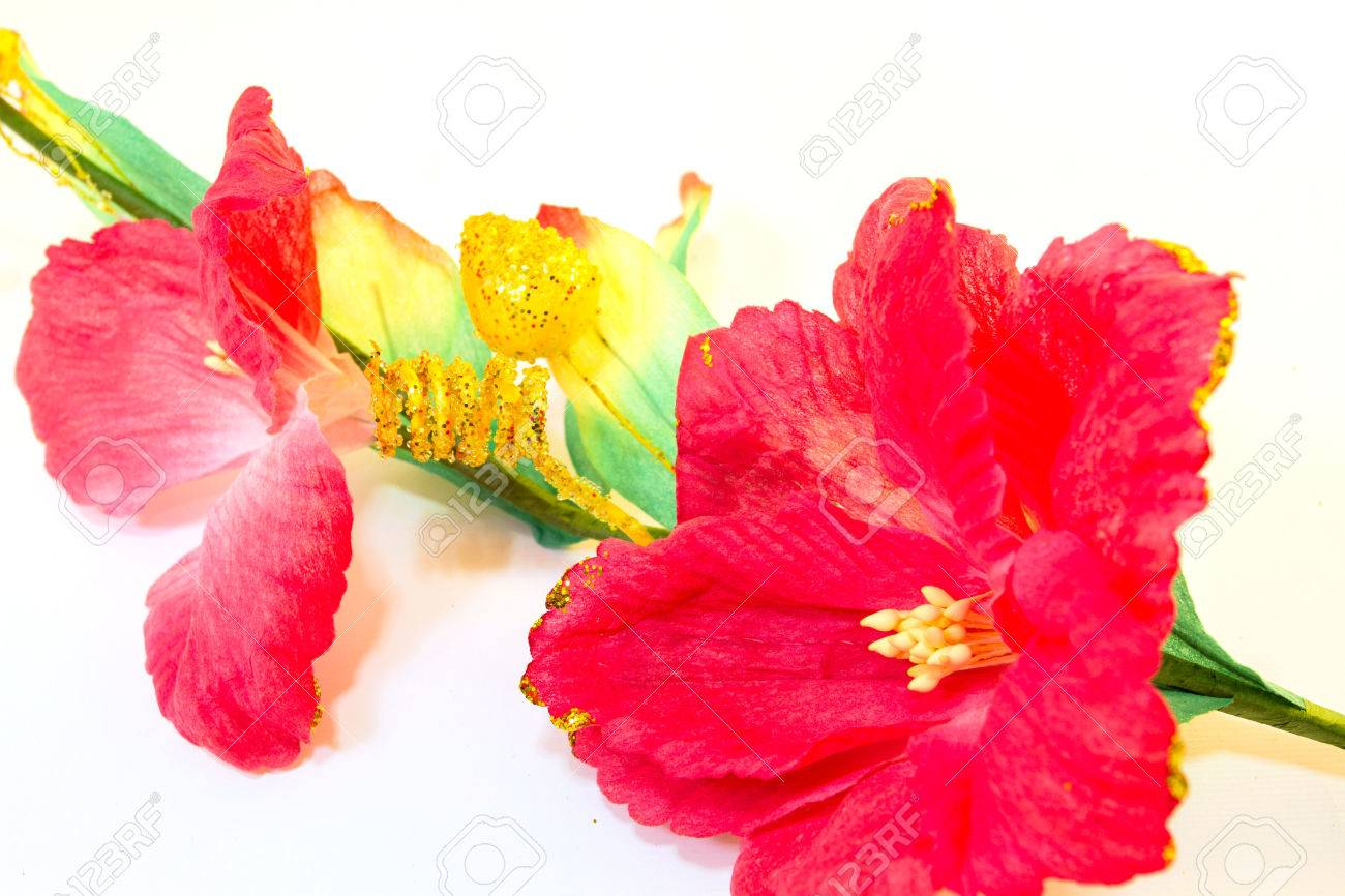 Red hibiscus rosa sinensis fake flowers on a white background stock red hibiscus rosa sinensis fake flowers on a white background stock photo 33654130 izmirmasajfo