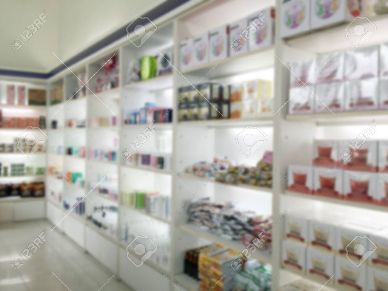 Superb Blurry Medicine Cabinet And Store Medicine And Pharmacy Drugstore For  Background Stock Photo   63996035