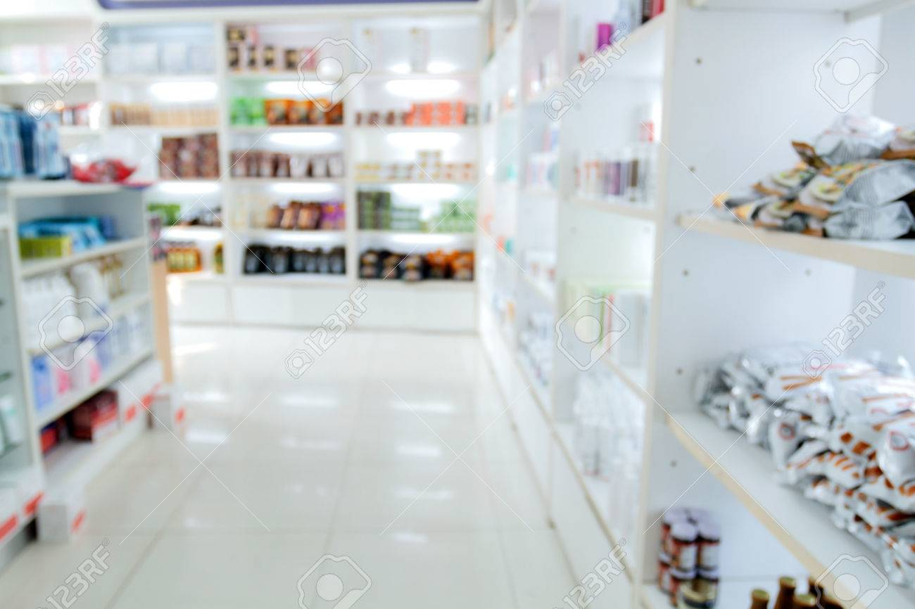 Exceptionnel Blurry Medicine Cabinet And Store Medicine And Pharmacy Drugstore For  Background Stock Photo   63996181