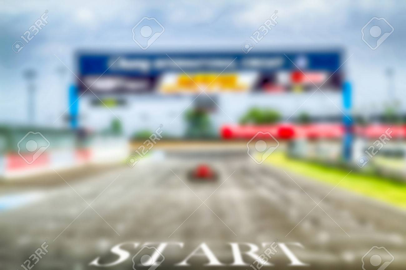 hdr car racing start track and finish background stock photo