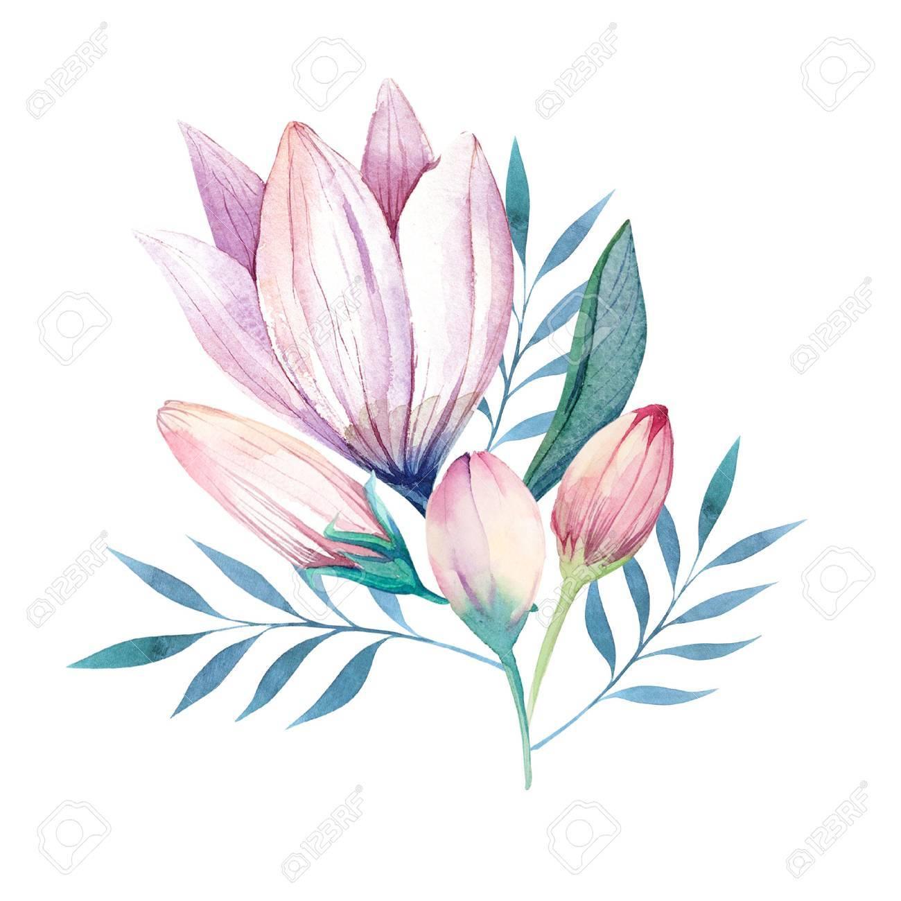 Fleurs Fixees Bouquet Floral Colore Avec Des Feuilles Et Des Fleurs