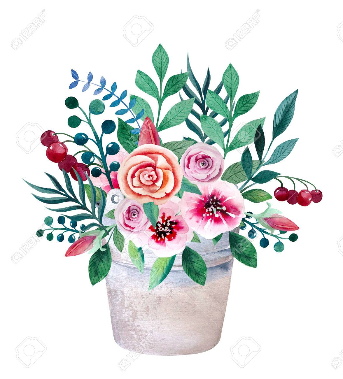 Watercolor Bouquets Of Flowers In Pot. Rustic Floral Set In Shabby ...