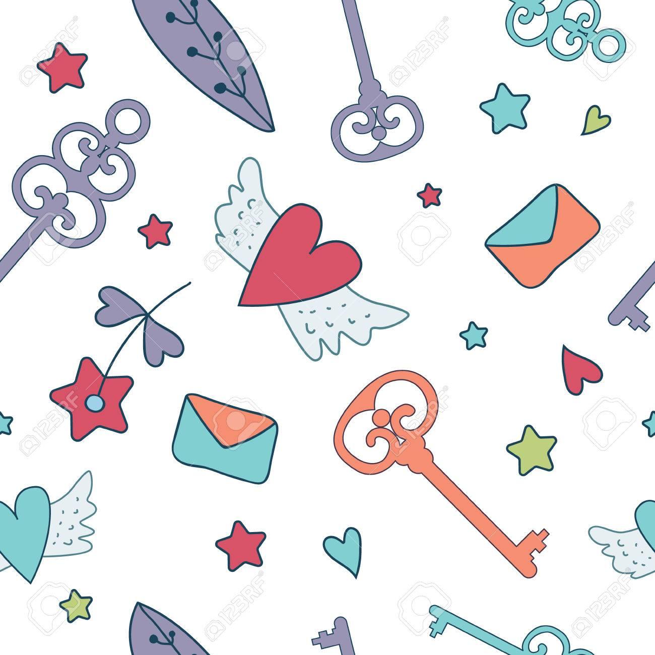 Sin Patrón Floral Aislado En Blanco Lindo Llaves Letras Corazones Pasteles Estrellas Y Flores Diseño De Cuento De Hadas Para Su Tarjeta De Amor