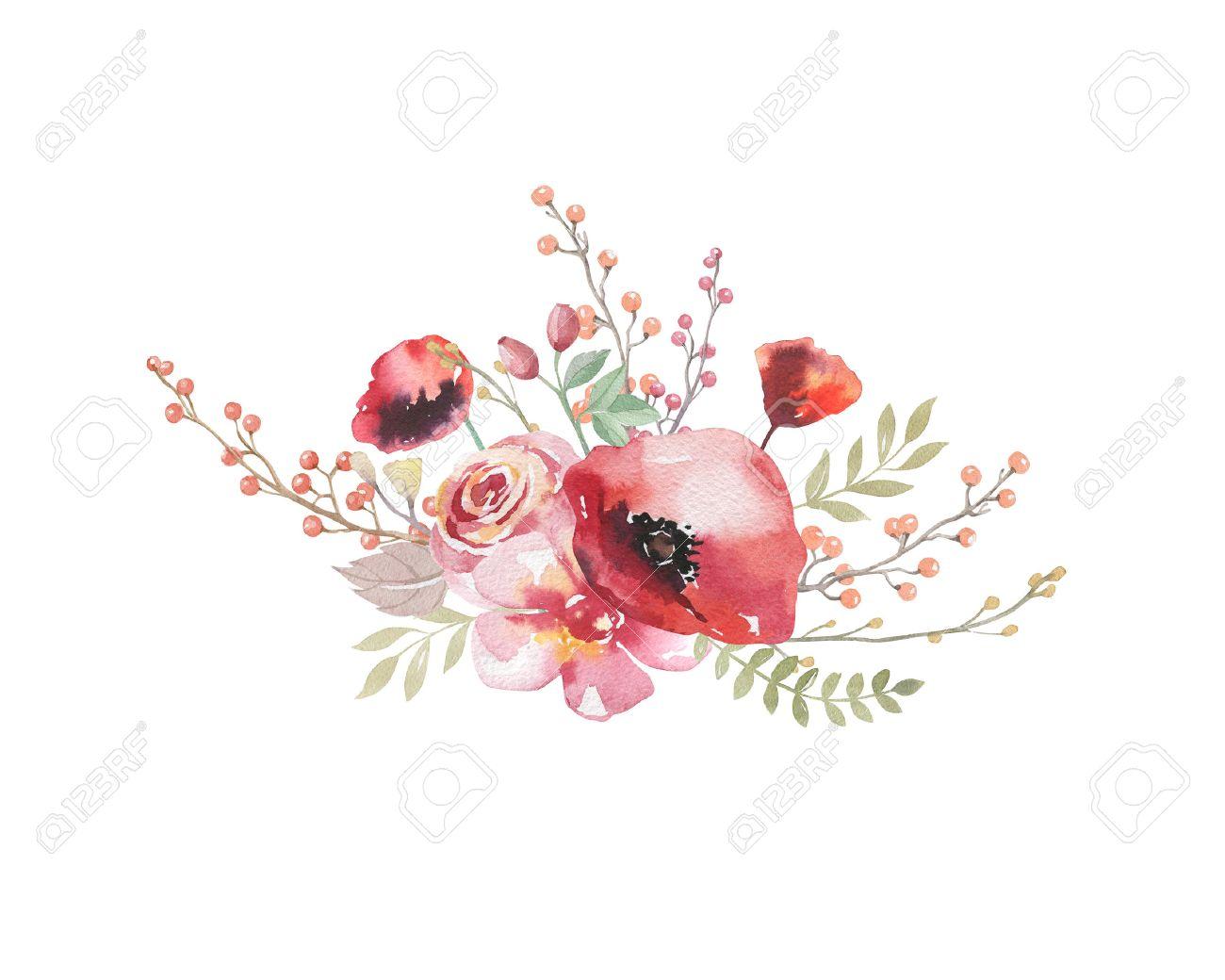 Watercolor Vintage Floral Bouquet Boho Spring Flowers And Leaf