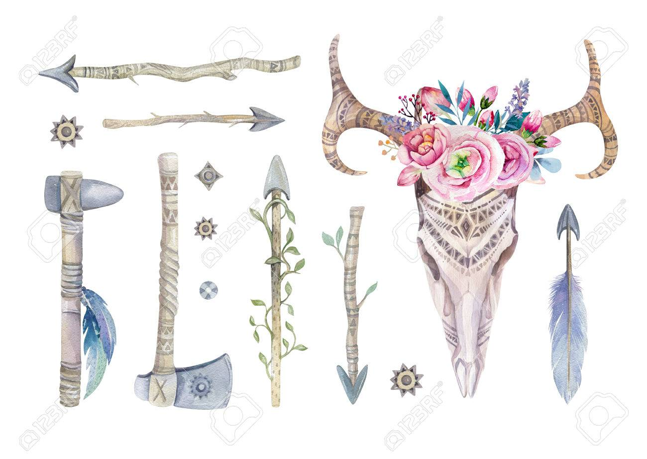 watercolor skull with flowers tomahawks arrows and feathers