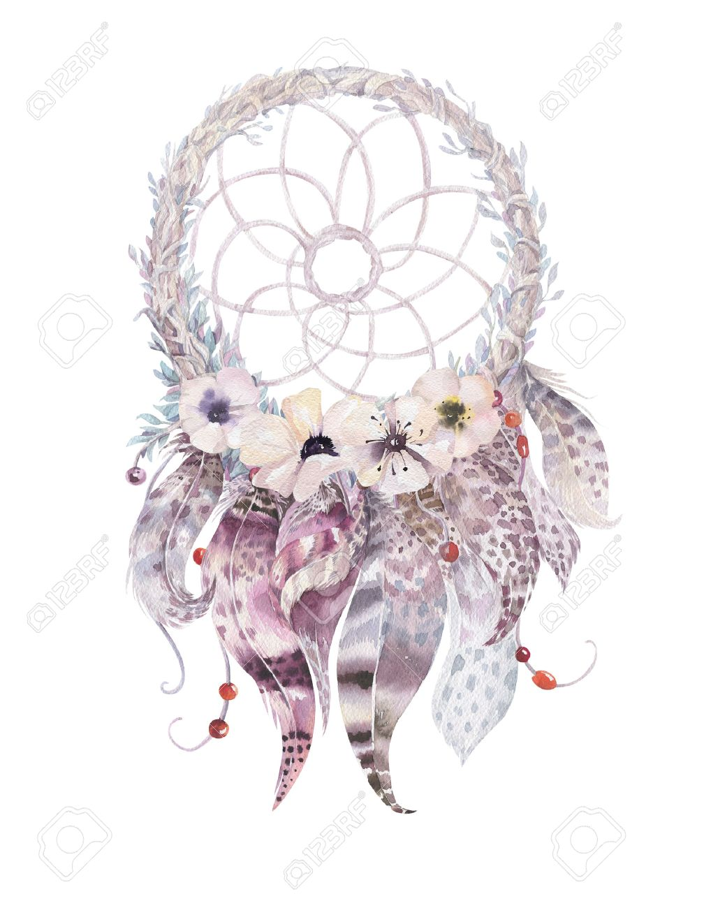 Isolated Watercolor Decoration Bohemian Dreamcatcher Boho Feathers Native Dream Chic Design Mystery Etnic
