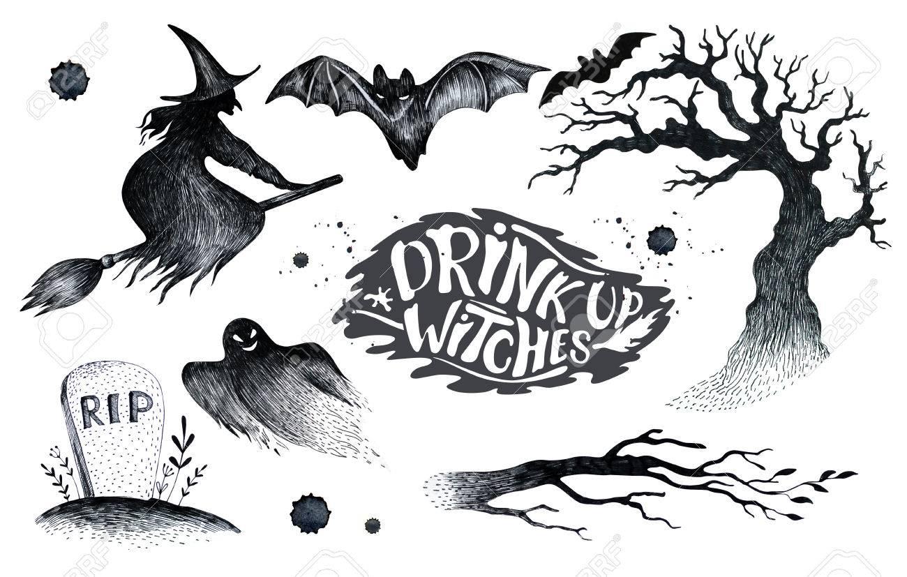 Halloween Dessin Noir Blanc Jeu Graphique Icône Dessiné Halloween Symboles Citrouille Balai Chauve Souris Sorcières Main éléments D Horreur
