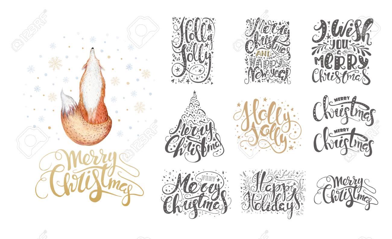 Frohe Weihnachten Schriftzug über Mit Schneeflocken Und Füchse. Hand ...