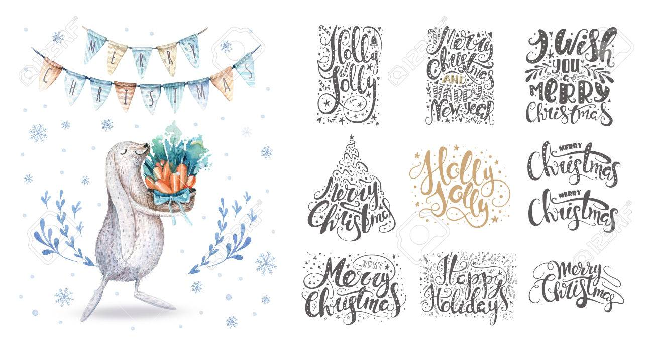Frohe Weihnachten Schriftzug über Mit Schneeflocken Und Hasen. Hand ...