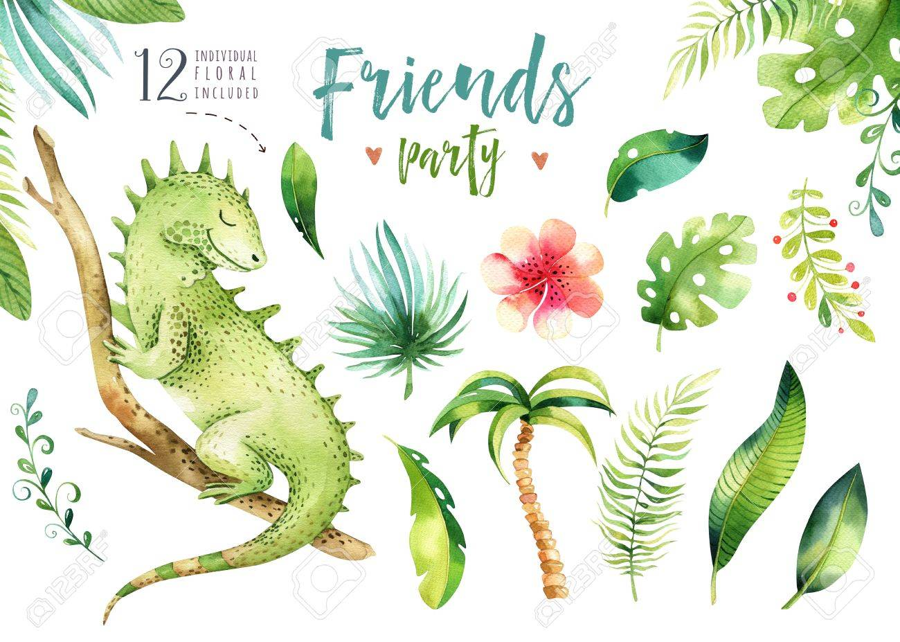Baby Animals Nursery Isolated Illustration For Children Watercolor Boho Tropical Drawing Child Cute Tropic