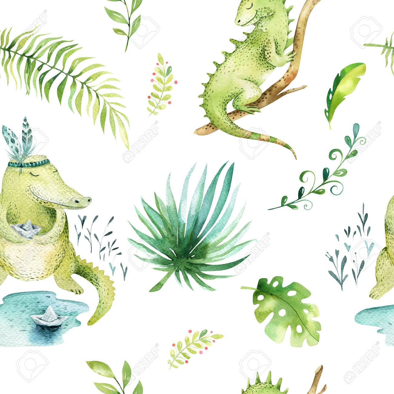 Baby Animals Nursery Isolated Seamless Pattern Watercolor Boho Tropical Fabric Drawing Child