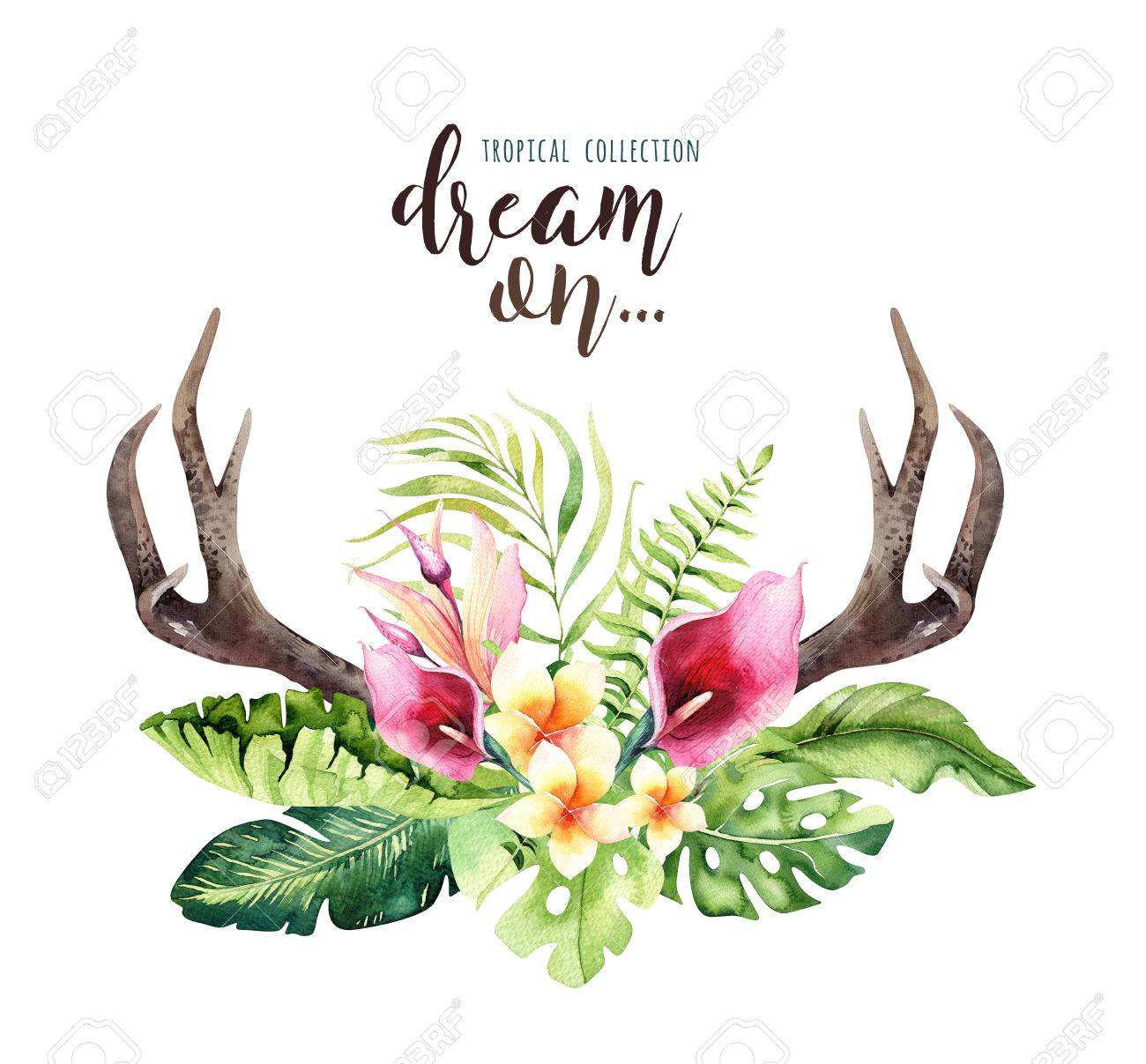 Hand drawn watercolor deer horns with tropical flower bouquets hand drawn watercolor deer horns with tropical flower bouquets exotic palm leaves jungle tree izmirmasajfo Images