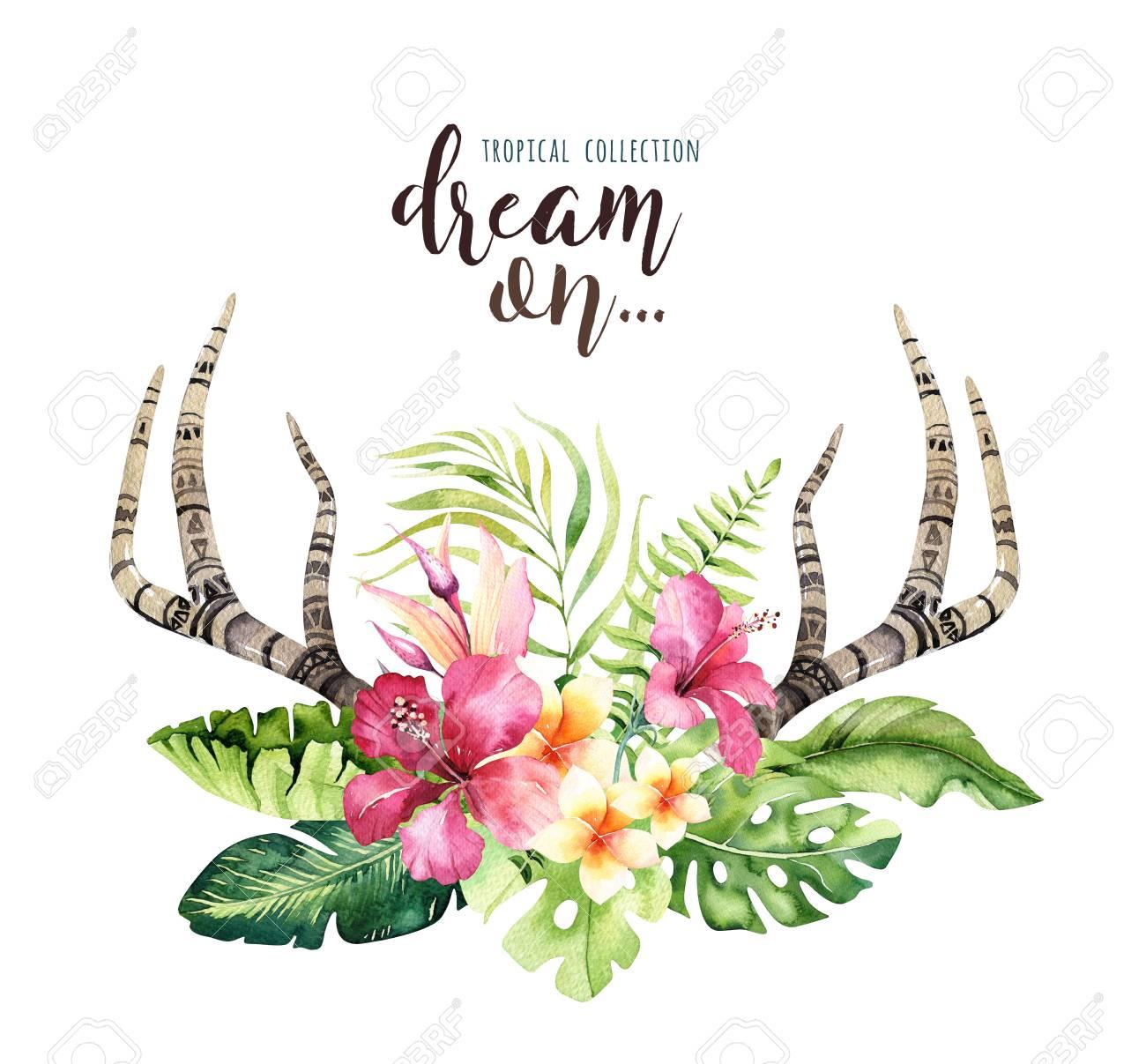 Hand drawn watercolor deer horns with tropical flower bouquets hand drawn watercolor deer horns with tropical flower bouquets exotic palm leaves jungle tree izmirmasajfo
