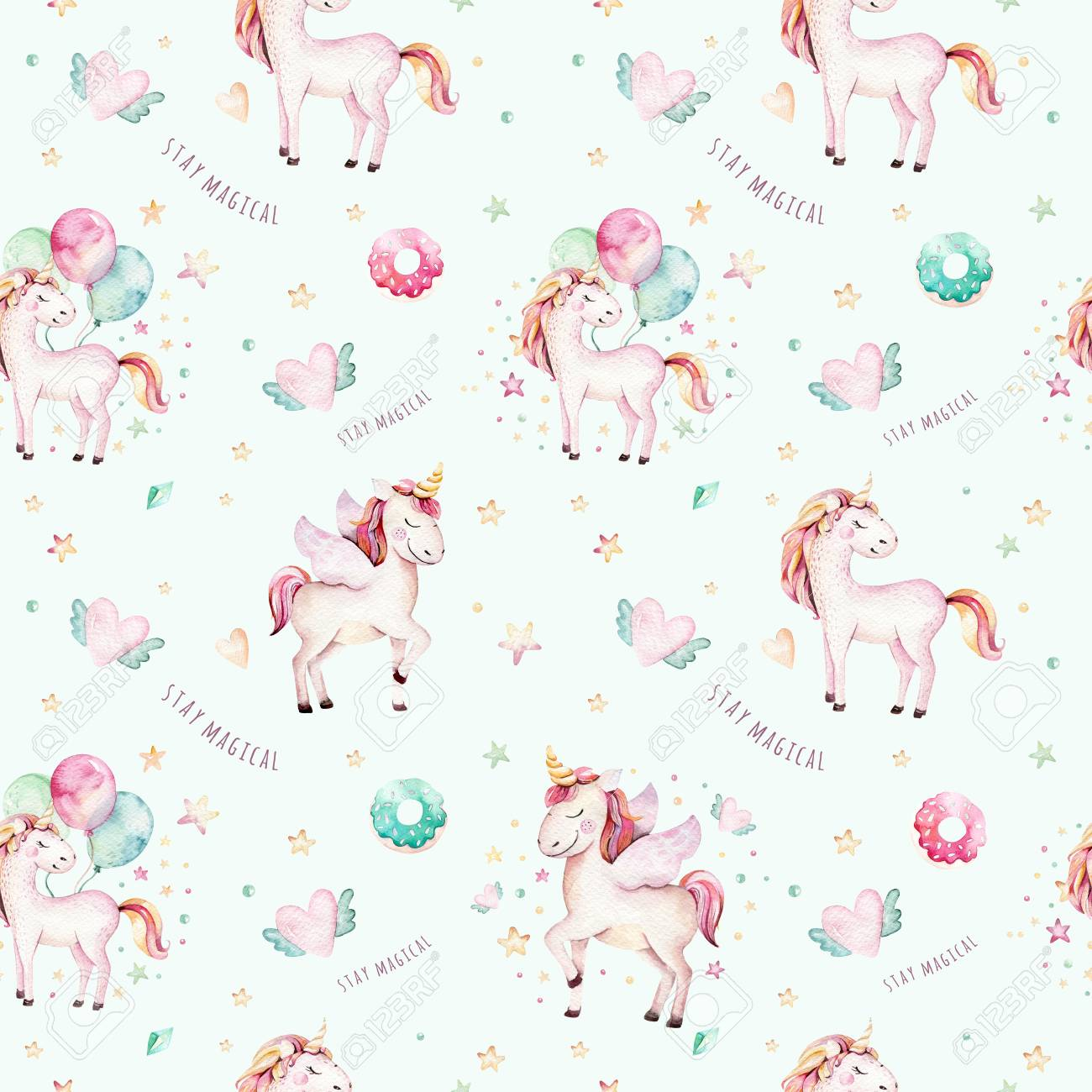 Isolated Cute Watercolor Unicorn Pattern Nursery Rainbow Unicorns Aquarelle Princess Unicornscollection Trendy Pink