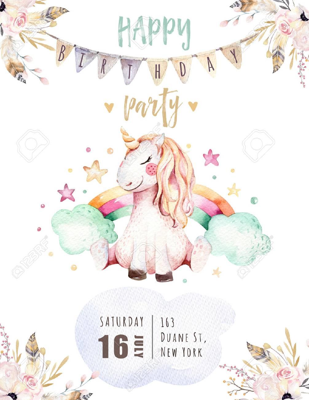Tarjeta Linda Aislada De La Invitación Del Unicornio De La Acuarela Ilustración De Unicornios De Guardería Princesa Arco Iris Unicornios Cartel