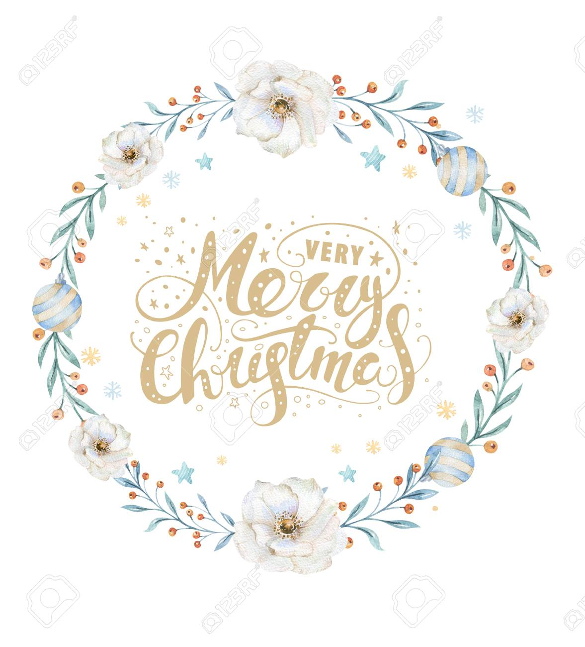 Merry Christmas Watercolor Cards With Floral Elements. Happy.. Stock ...