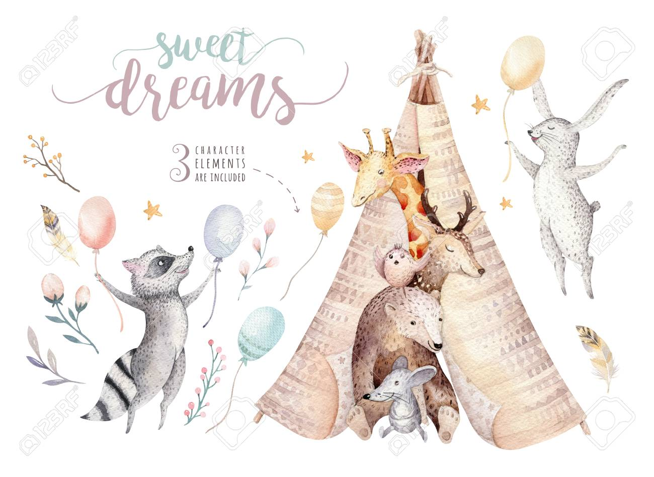 Cute baby giraffe, deer animal nursery mouse and bear, raccoon and bunny isolated illustration for children. Watercolor boho forest cartoon Birthday patry teepee invitation - 97608351
