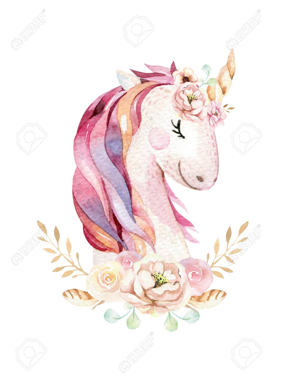 isolated cute watercolor unicorn clipart with flowers nursery rh 123rf com unicorn clipart coloring page unicorn clipart png